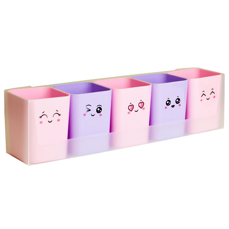 Kit doçura com 5 porta objetos - rosa e lilás - 2190.SS - Dello