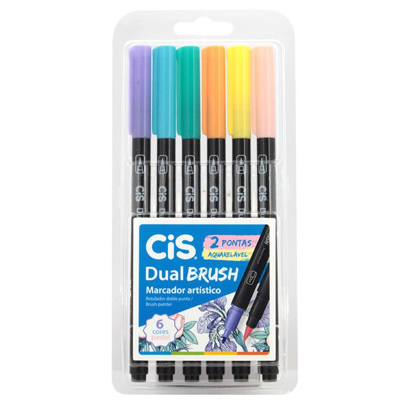 Caneta pincel dual Brush Aquarelável - com 6 cores Pastel - Cis