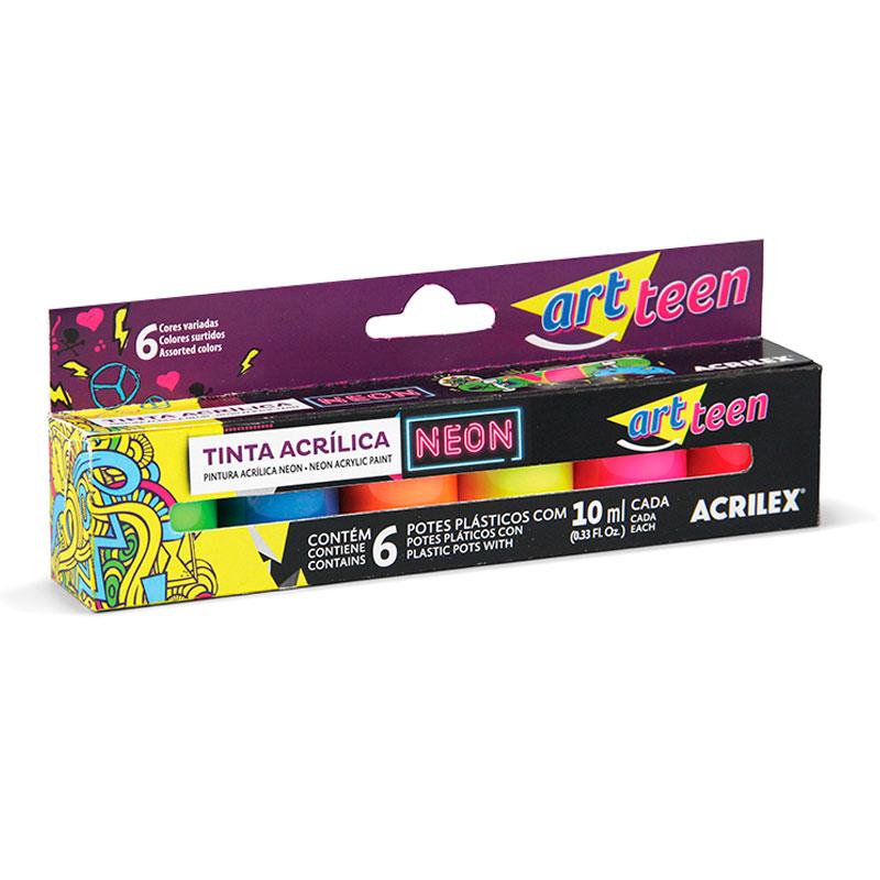 Tinta acrílica fosca 6 cores neon 10ml - 03905 - Acrilex