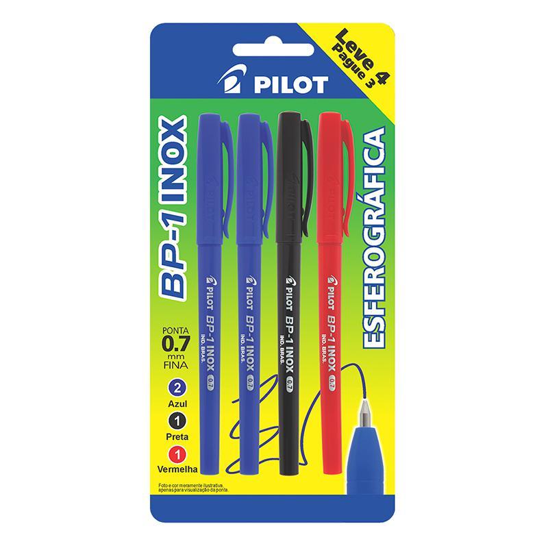 Caneta esferográfica 0.7 inox BP-1 - blister Pague 3 Leve 4 - azul/preta/vermelha - Pilot