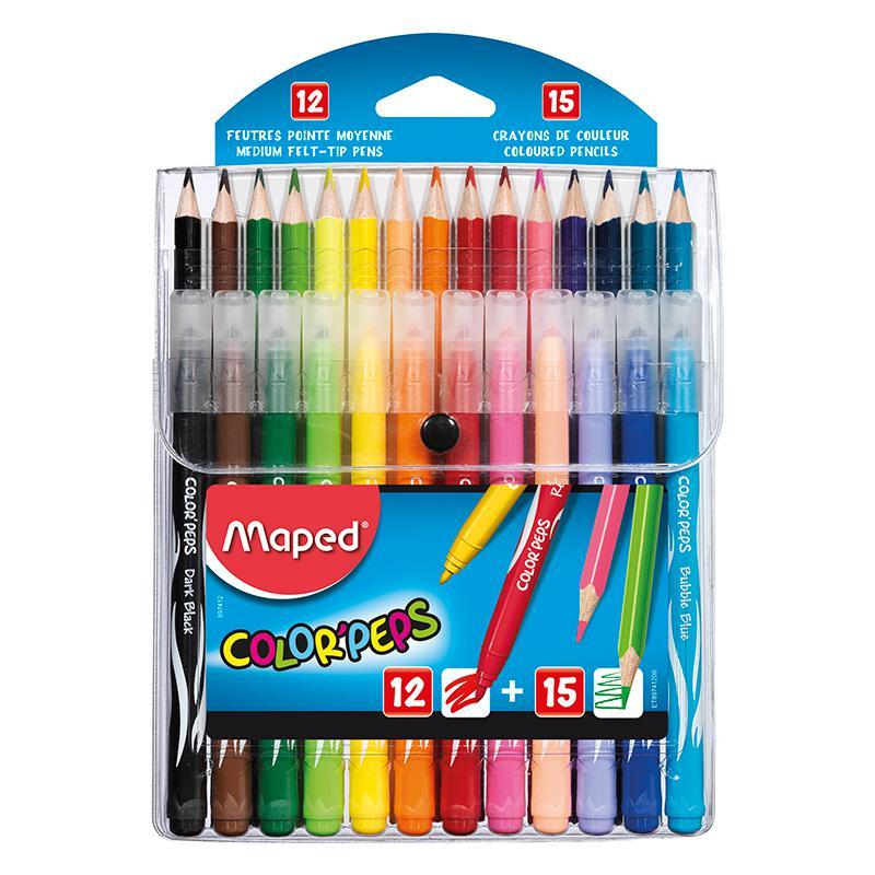 Lápis de cor Color Peps 15 cores+12 canetinhas jungle 897412 Maped