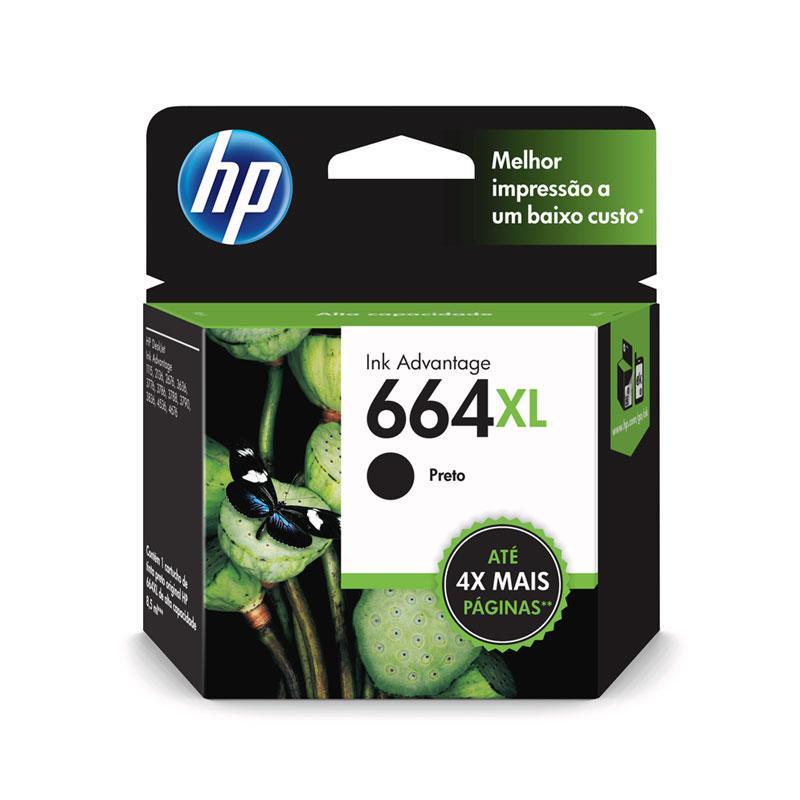 Cartucho HP Original (664XL)F6V31AB preto rend.480pgs