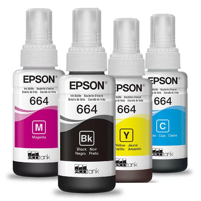 Kit Refil Epson (664) Preto, Ciano, Magenta e Amarelo