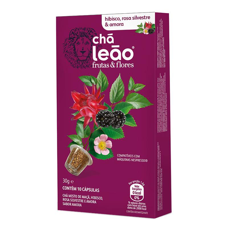 Cápsula de chá hibísco, amora e rosa - com 10 unidades - Leão