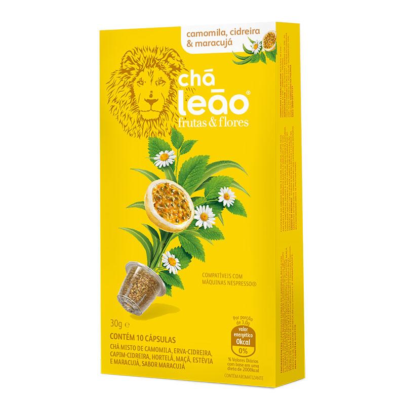 Cápsula de chá camomila, cidreira e maracujá - com 10 unidades - Leão