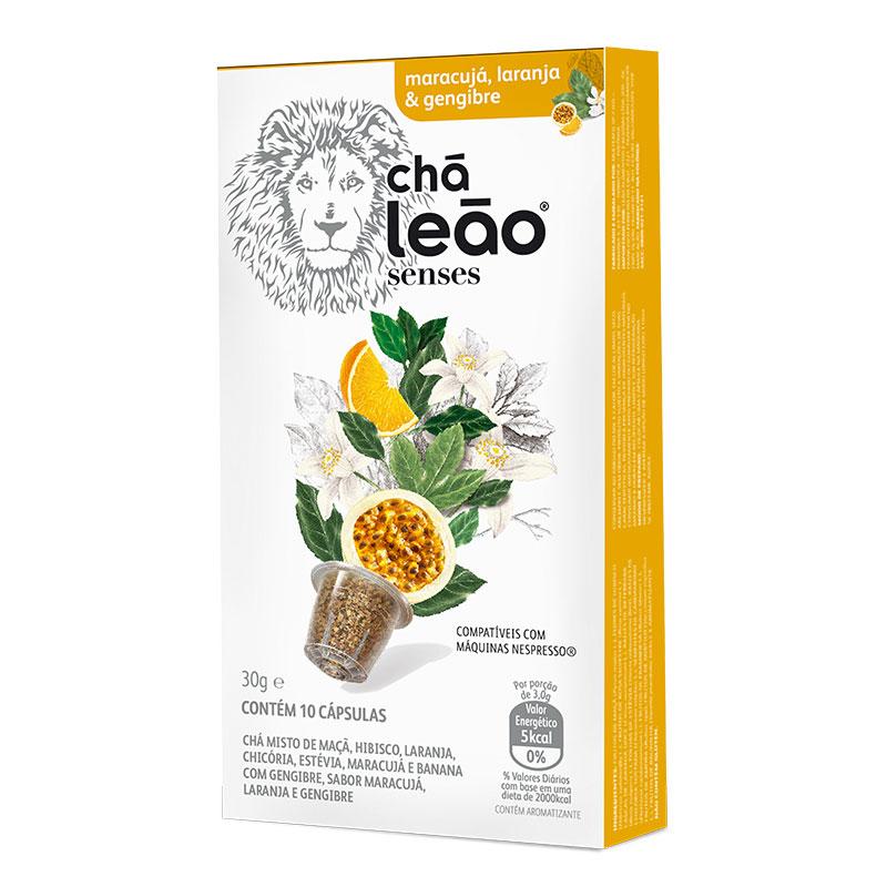 Cápsula de chá maracujá, laranja e gengibre - com 10 unidades - Leão Senses