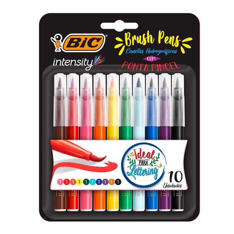 Caneta hidrográfica ponta pincel Brush Pens Intensity - com 10 unidades - Bic