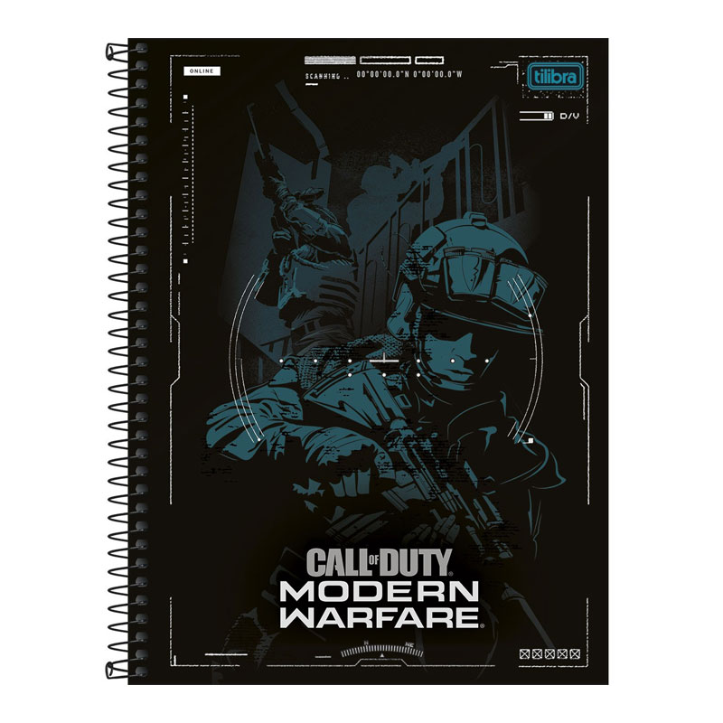 Caderno universitário capa dura 1x1 - 80 folhas - Call of Duty - Capa 4 - Tilibra