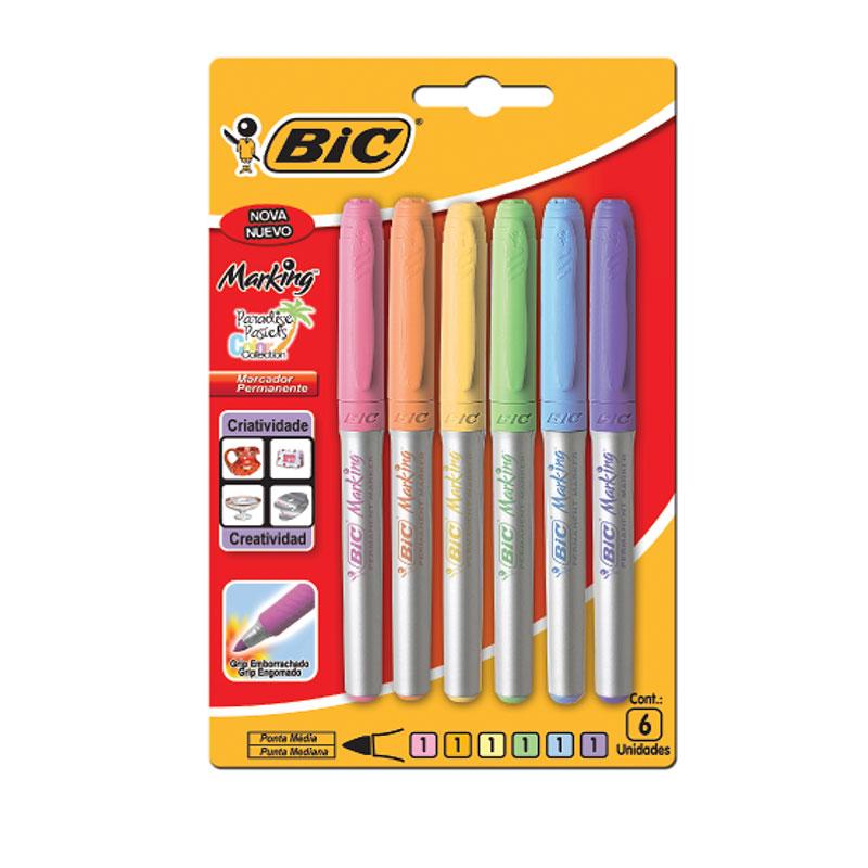Pincel Marcador permanente Marking Paradise pastel - com 6 cores - Bic