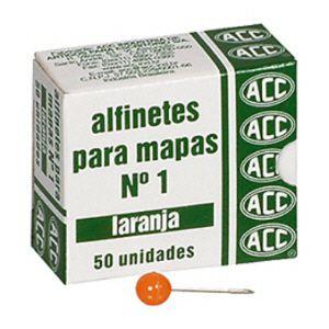 Alfinete para mapa NR 01 laranja - com 50 unidades - ACC