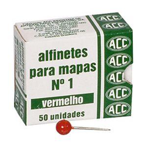 Alfinete para mapa NR 01 vermelho - com 50 unidades - ACC