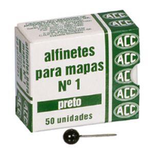 Alfinete para mapa NR 01 preto - com 50 unidades - ACC
