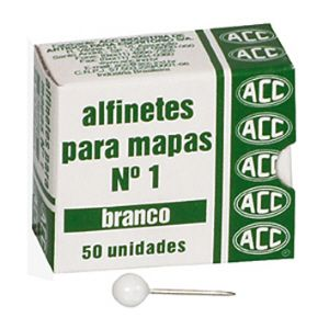 Alfinete para mapa NR 01 branco - com 50 unidades - ACC