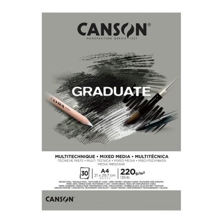 Bloco graduate multi técnica cinza A4 220g - com 30 folhas - Canson