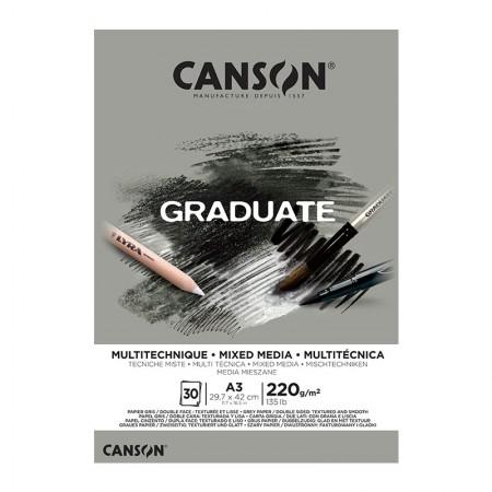 Bloco graduate multi técnica cinza A3 220g - com 30 folhas - Canson
