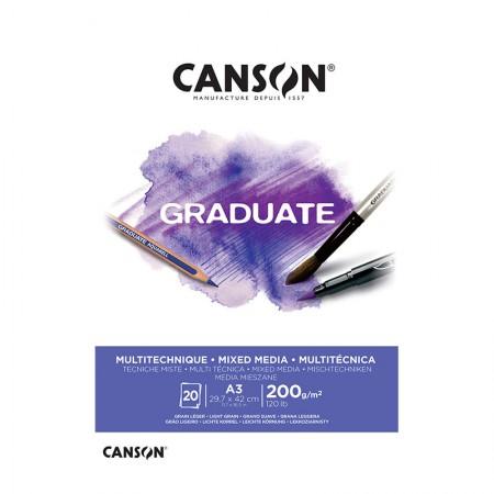 Bloco graduate multi técnica branco A3 200g - com 20 folhas - Canson