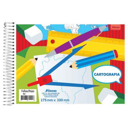 Caderno espiral capa flexível cartografia 96 folhas - Foroni