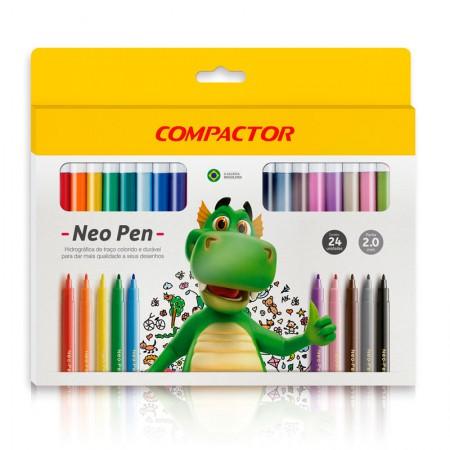 Caneta hidrográfica Neo Pen Gigante - com 24 cores - Compactor