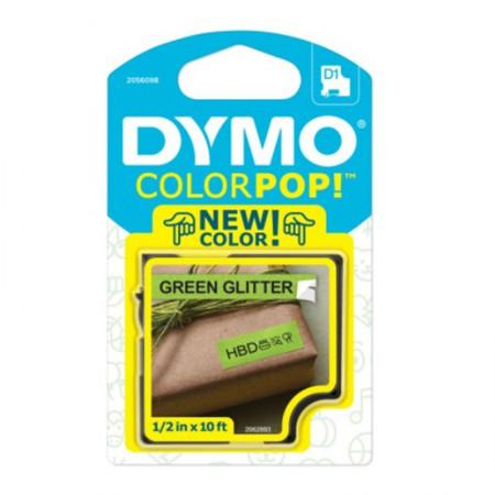 Fita para rotulador Color Pop verde glitter com escrita preta 12mm - Dymo