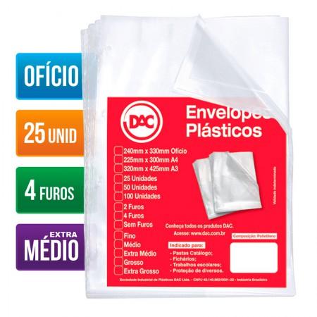 Envelope plástico ofício 0.12 - 4 furos - 5178 - pacote com 25 unidades - Dac