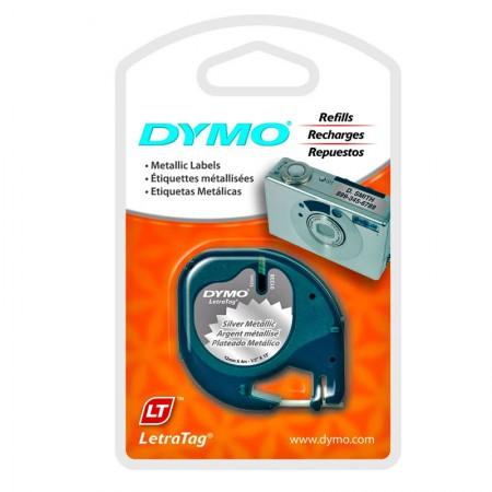 Fita p / rotulador LetraTag 12mm 91338 prata escrita preto Dymo
