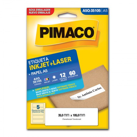 Etiqueta inkjet/laser A5Q35105 - Pimaco