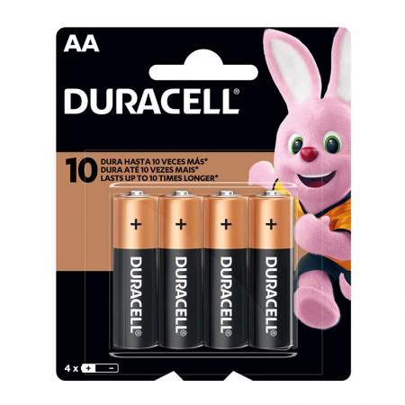 Pilha alcalina pequena AA - com 4 unidades - Duracell