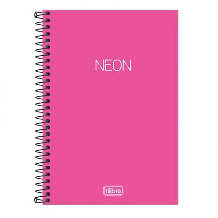Caderno espiral capa plástica sem pauta 1/4 - 80 folhas - Neon Pink - Tilibra