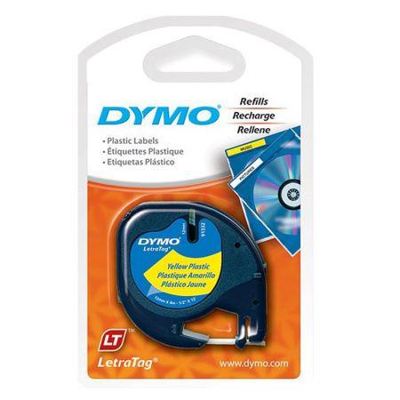 Fita para rotulador letratag  amarela com escrita preta 12mm - 91332 - Dymo