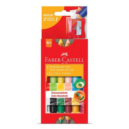 Giz de cera bicolor ecogiz - HT141412 - com 12 cores - Faber-Castell
