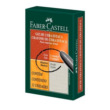 Giz de cera estaca branco com 12 unidades - Faber-Castell