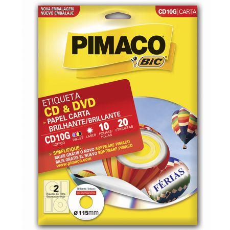 Etiqueta glossy CDPPLY CD10G - CD - com 10 folhas - Pimaco
