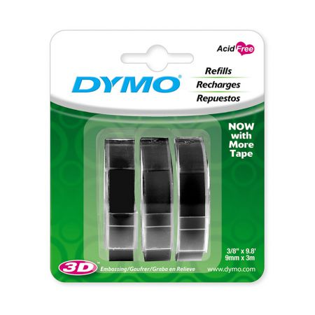 Fita para rotulador preta 3 unidades 9mm - 1741670 - Dymo