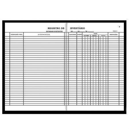 Registro de inventário modelo 7 - com 50 folhas - São Domingos