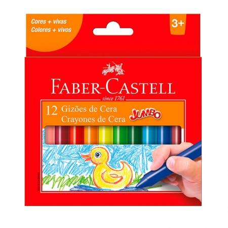 Gizão de cera jumbo - 141112N - com 12 cores - Faber-Castell