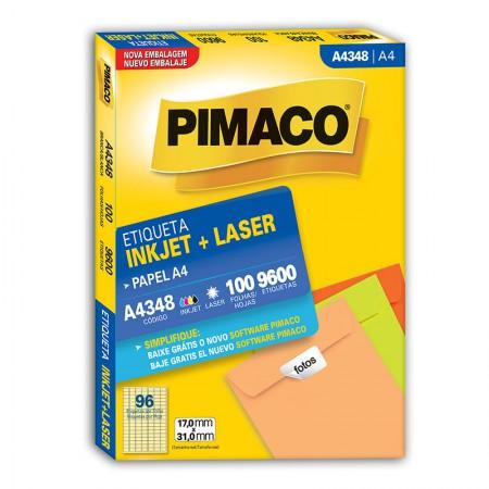 Etiqueta inkjet/laser A4348 - com 100 folhas - Pimaco