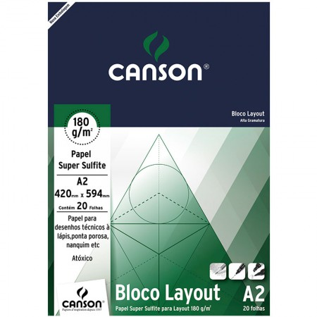 Bloco layout liso A2 180g - com 20 folhas - Canson