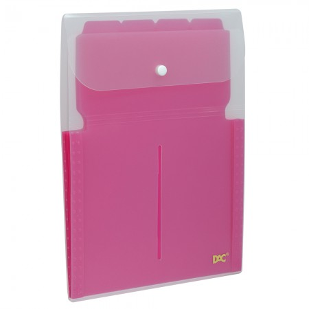 Pasta sanfonada vertical soft A4 com 5 divisões rosa 679PPRS - Dac