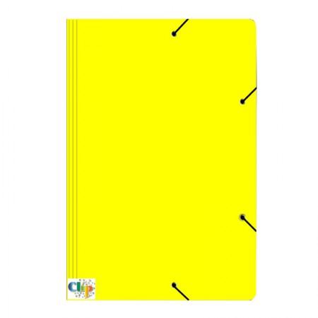 Pasta com aba elástico ofício - Duplex - amarela - ClipColor