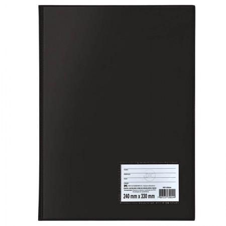 Pasta catálogo com visor - 153 - Preto - com 50 envelopes plásticos médio - Dac
