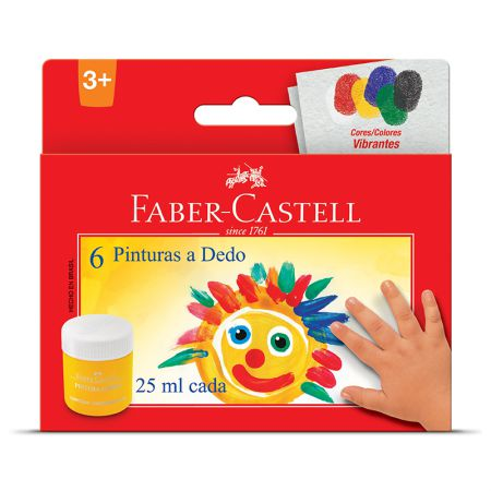 Pintura a dedo 6 cores 25ml - HT160006L - Faber-Castell