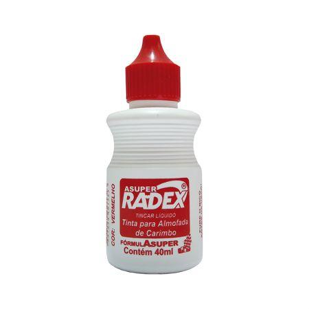 Tinta para carimbo 40ml - Vermelha - Radex