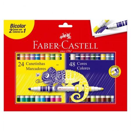 Caneta hidrográfica bicolor - 150624N - 2 em 1 com 48 cores - Faber-Castell