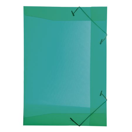 Pasta com aba elástico 1/2 ofício - transparente verde - 0252.T - Dello
