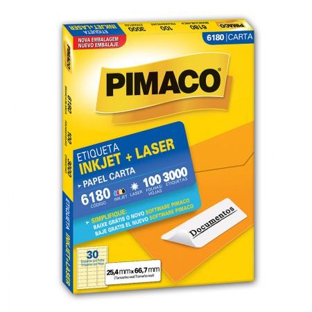 Etiqueta inkjet/laser carta 6180 - com 100 folhas - Pimaco