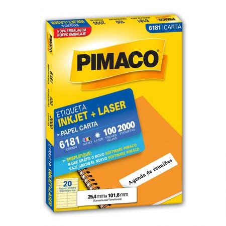 Etiqueta inkjet/laser carta 6181 - com 100 folhas - Pimaco