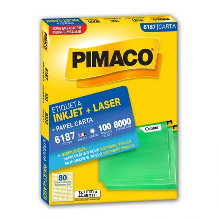 Etiqueta inkjet/laser carta 6187 - com 100 folhas - Pimaco