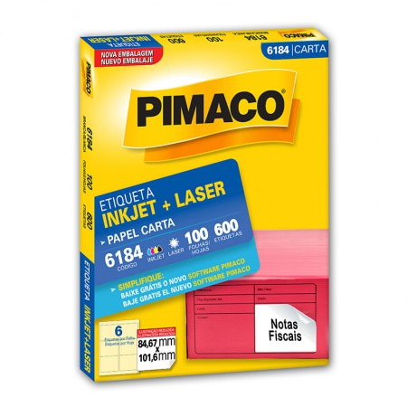 Etiqueta inkjet/laser carta 6184 - com 100 folhas - Pimaco