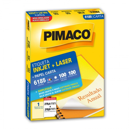 Etiqueta inkjet/laser carta 6185 - com 100 folhas - Pimaco