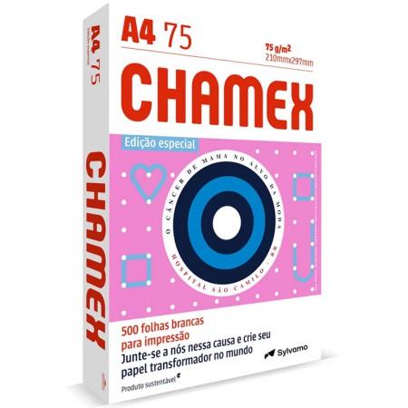 Papel Sulfite A4 75g 210x297 Outubro Rosa 500 Fls Chamex